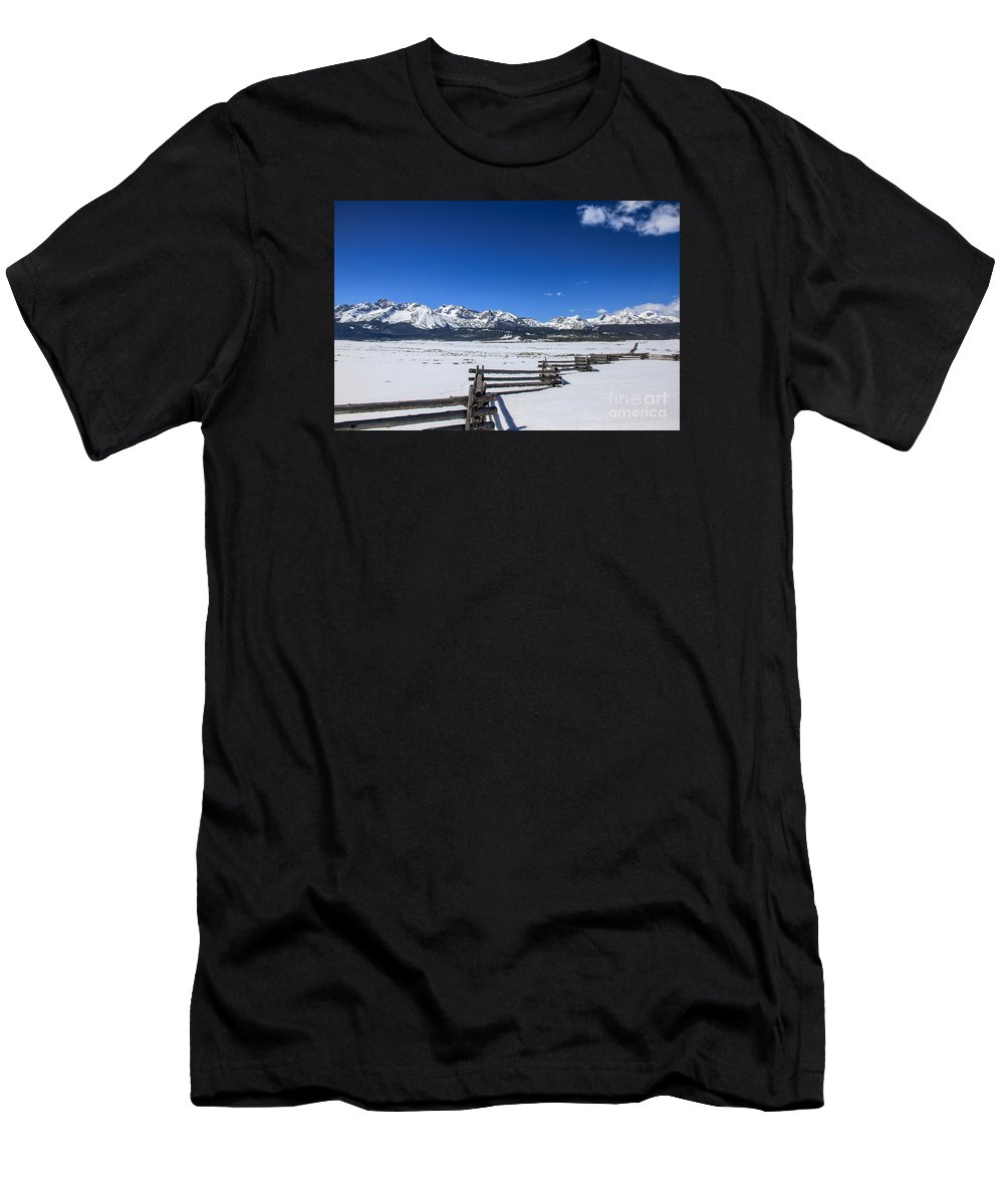Rocky Mountains Men's T-Shirt (Athletic Fit) featuring the photograph Spring View Of The Sawtooth Mountains by Robert Bales