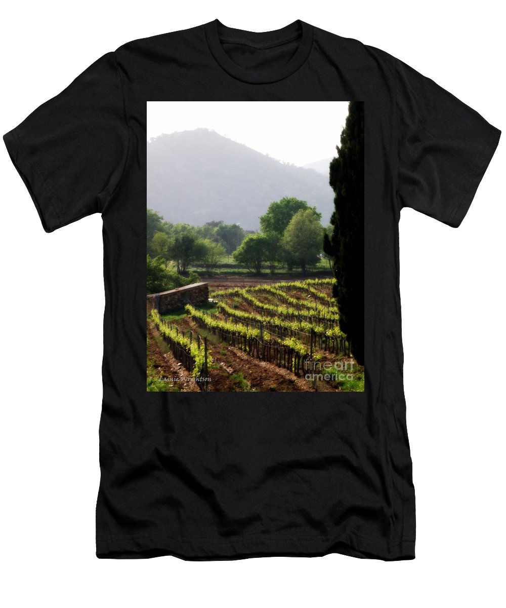 Vineyard Men's T-Shirt (Athletic Fit) featuring the photograph Spring Vines In Provence by Lainie Wrightson