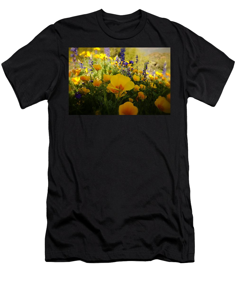 Poppies Men's T-Shirt (Athletic Fit) featuring the photograph Spring Wildflowers by Saija Lehtonen