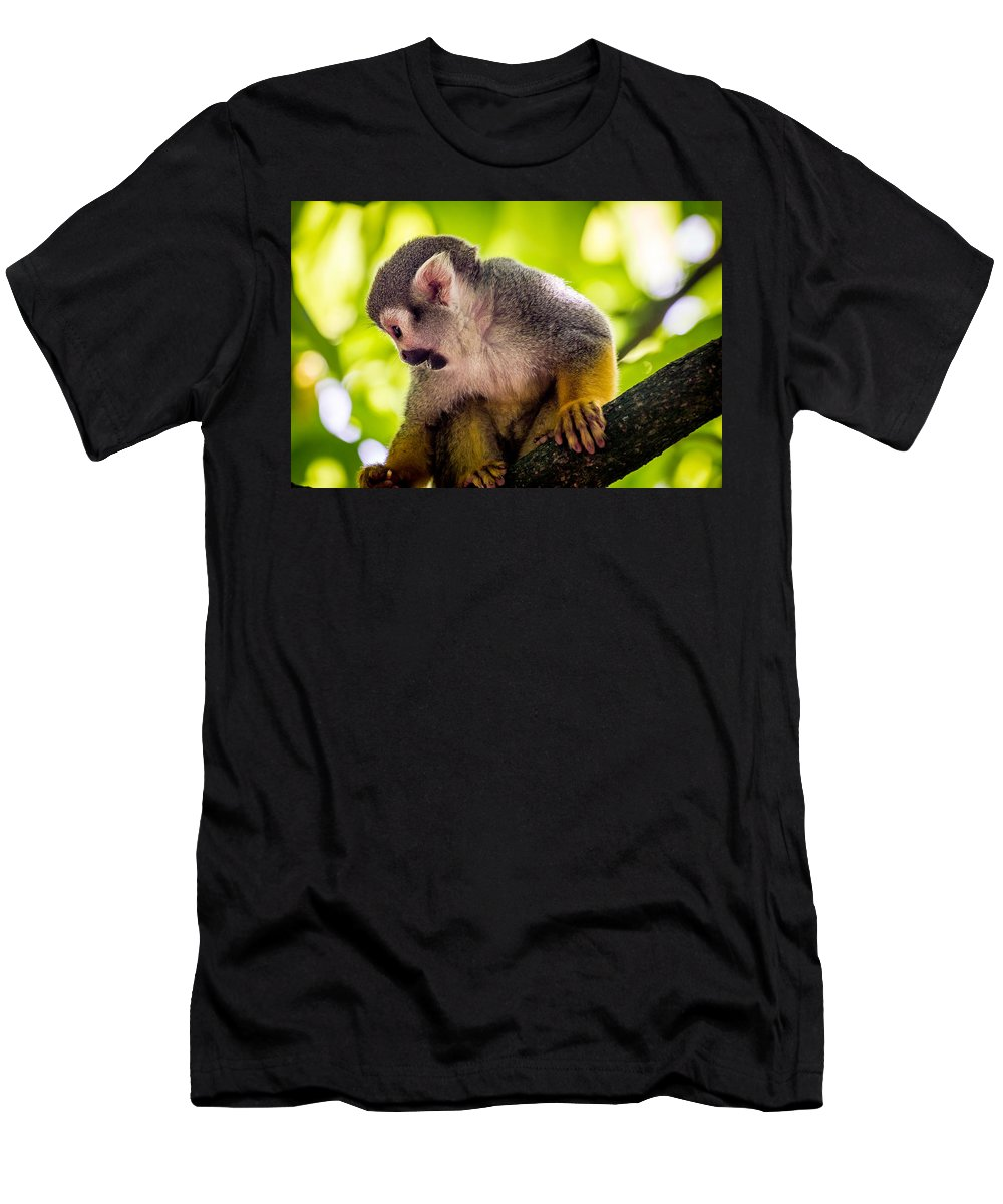 Cute Men's T-Shirt (Athletic Fit) featuring the photograph Squirrel Monkey by Pati Photography