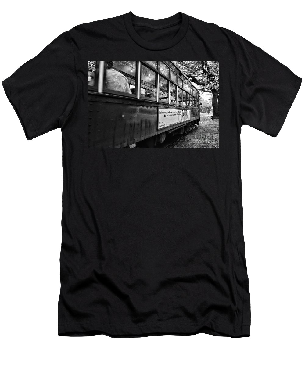 Trolley Men's T-Shirt (Athletic Fit) featuring the photograph St. Charles Ave Streetcar Whizzes By-black And White by Kathleen K Parker