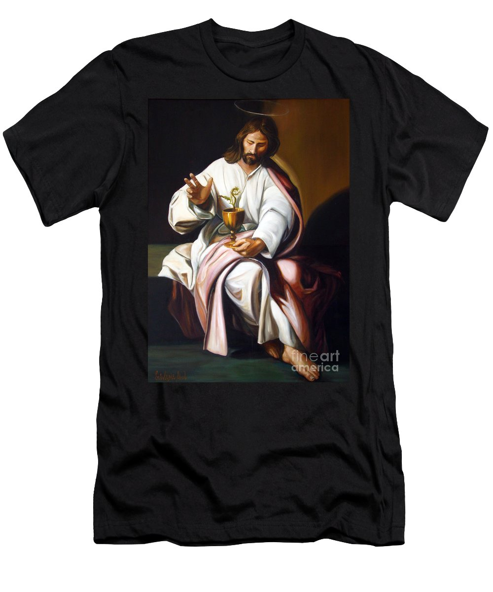 Classic Art Men's T-Shirt (Athletic Fit) featuring the painting St John The Evangelist by Silvana Abel