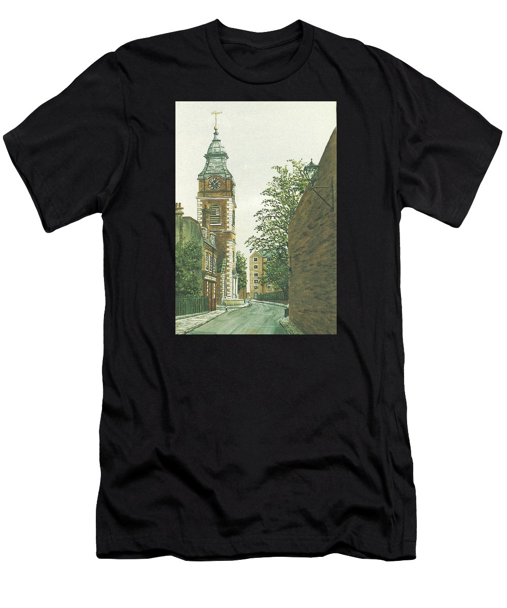 Scandrett Street Men's T-Shirt (Athletic Fit) featuring the painting St Johns Church Wapping From Scandrett Street by Mackenzie Moulton