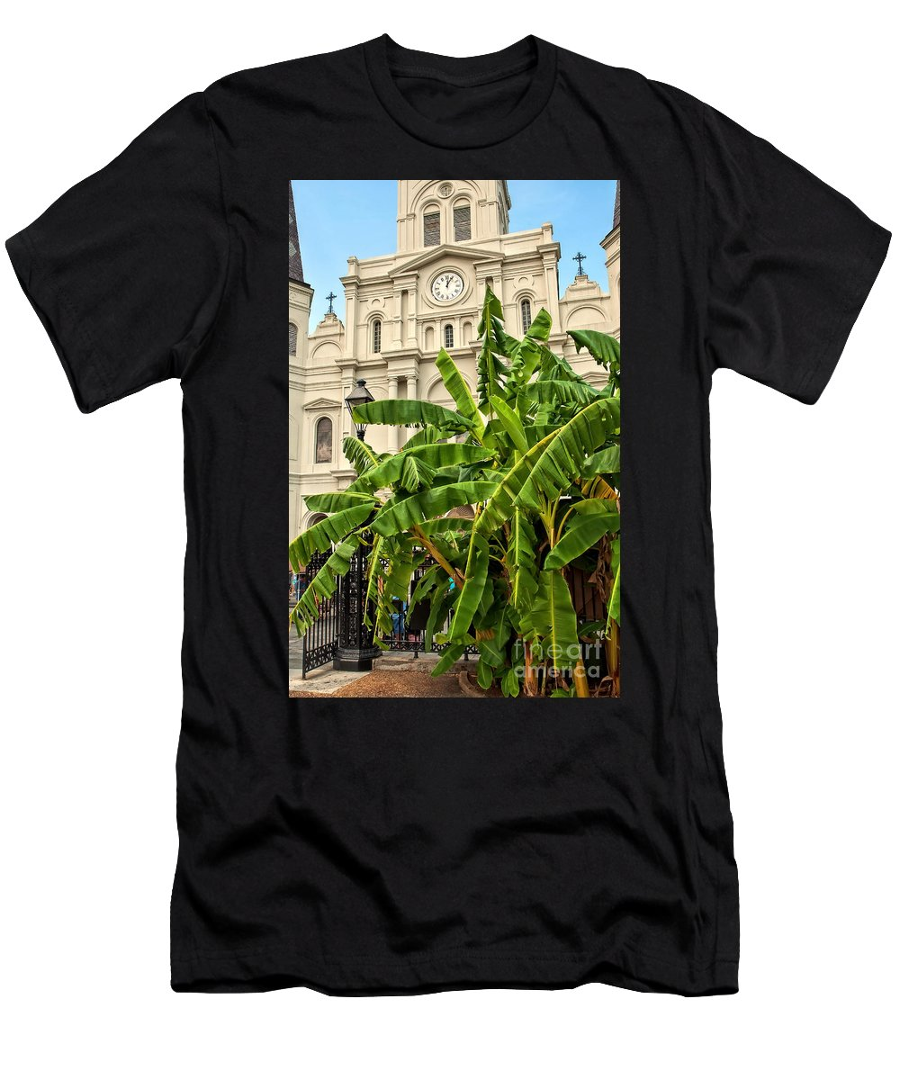Banana Trees Men's T-Shirt (Athletic Fit) featuring the photograph St. Louis Cathedral And Banana Trees New Orleans by Kathleen K Parker