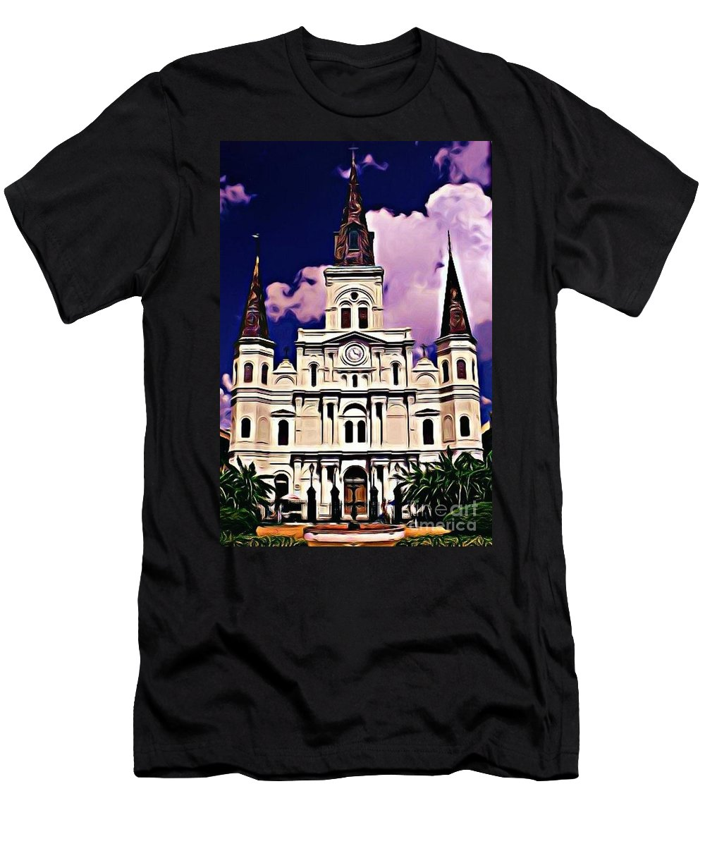 St Louis Cathedral In New Orleans Men's T-Shirt (Athletic Fit) featuring the photograph St Louis Cathedral In New Orleans by John Malone