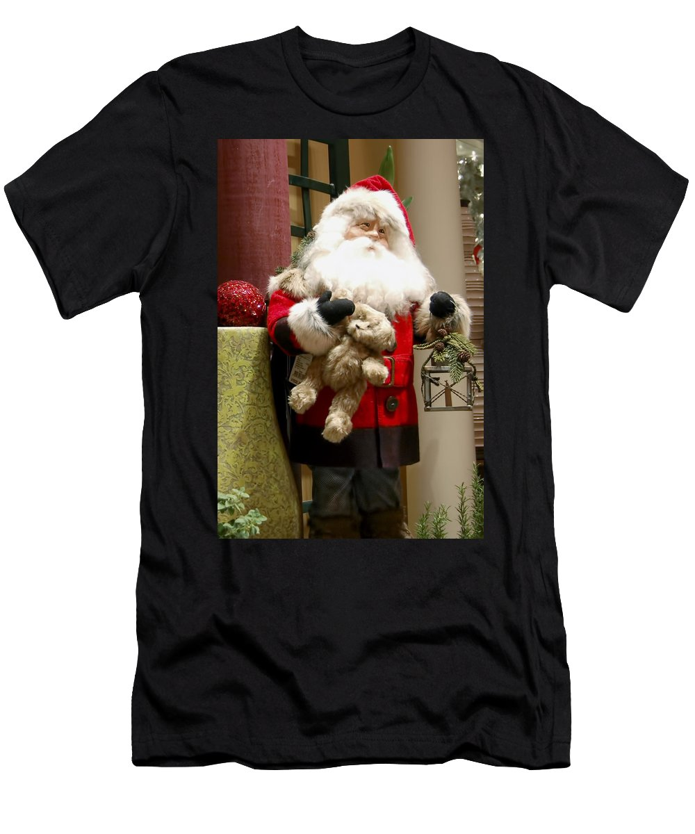 St Nick Men's T-Shirt (Athletic Fit) featuring the photograph St Nick Teddy Bear by Jon Berghoff