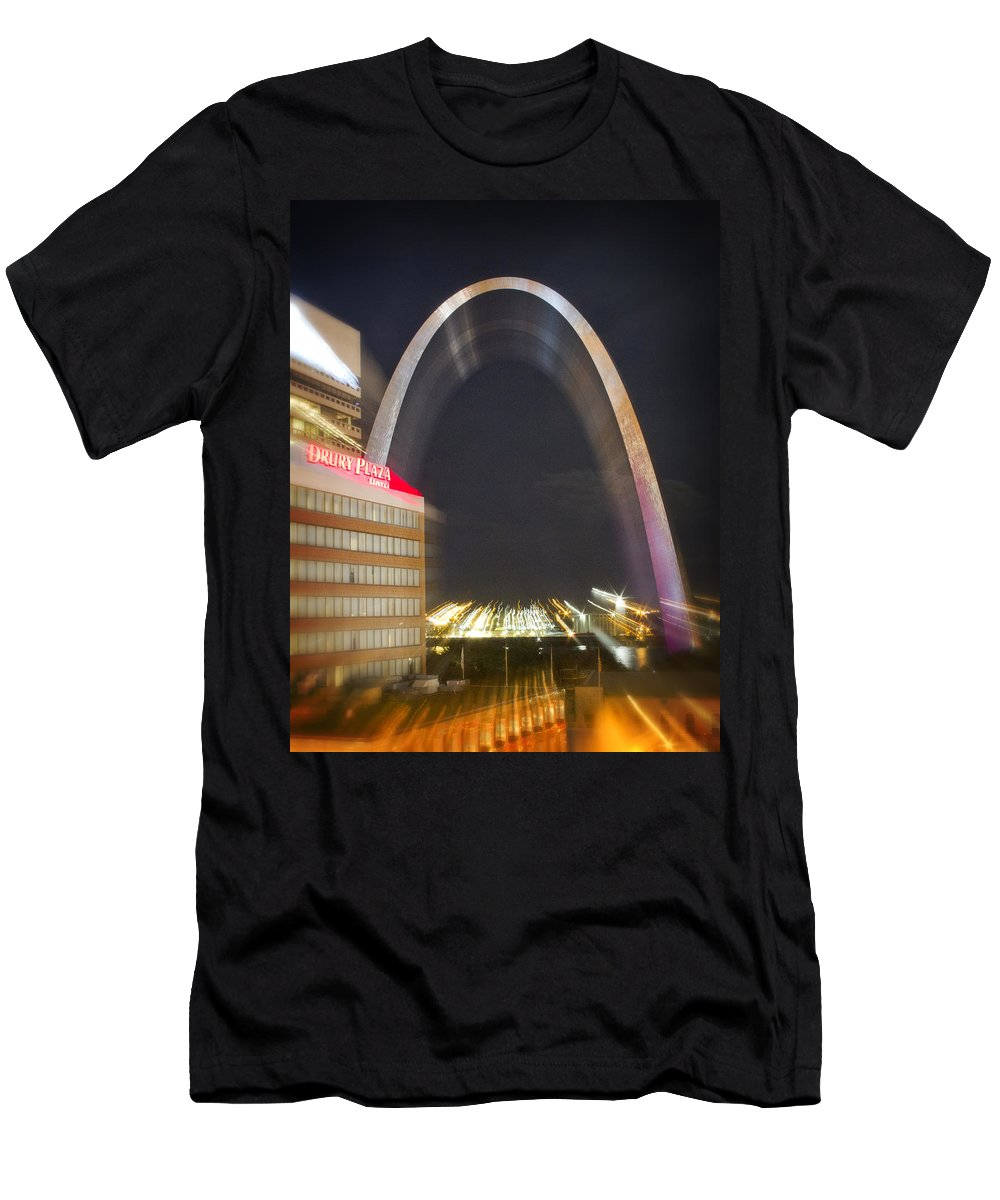 St Louis Men's T-Shirt (Athletic Fit) featuring the photograph St Ouis Arch Special Zoom Effect by Garry McMichael