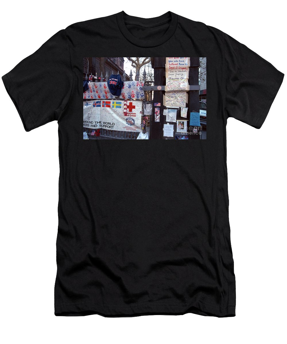 9-11 9/11 Sept. 11 2001 September Saint Paul's Chapel Finnish Flag Swedish American Tribute Memorial Fence Wrought Iron Fence Previously Unpublished Police Car Aftermath Nyfd Nypd Men's T-Shirt (Athletic Fit) featuring the photograph St. Paul's Chapel Memorial 9-11 by Steven Dunn