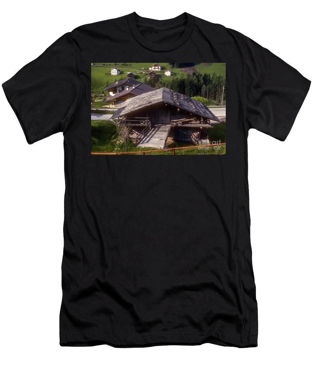 St. Ulrich Barn Barns Farm Farms Farmland Farmlands Structure Structures Building Buildings House Houses Architecture Landscape Landscapes Cityscape Cityscapes Italy Men's T-Shirt (Athletic Fit) featuring the photograph St. Ulrich by Bob Phillips