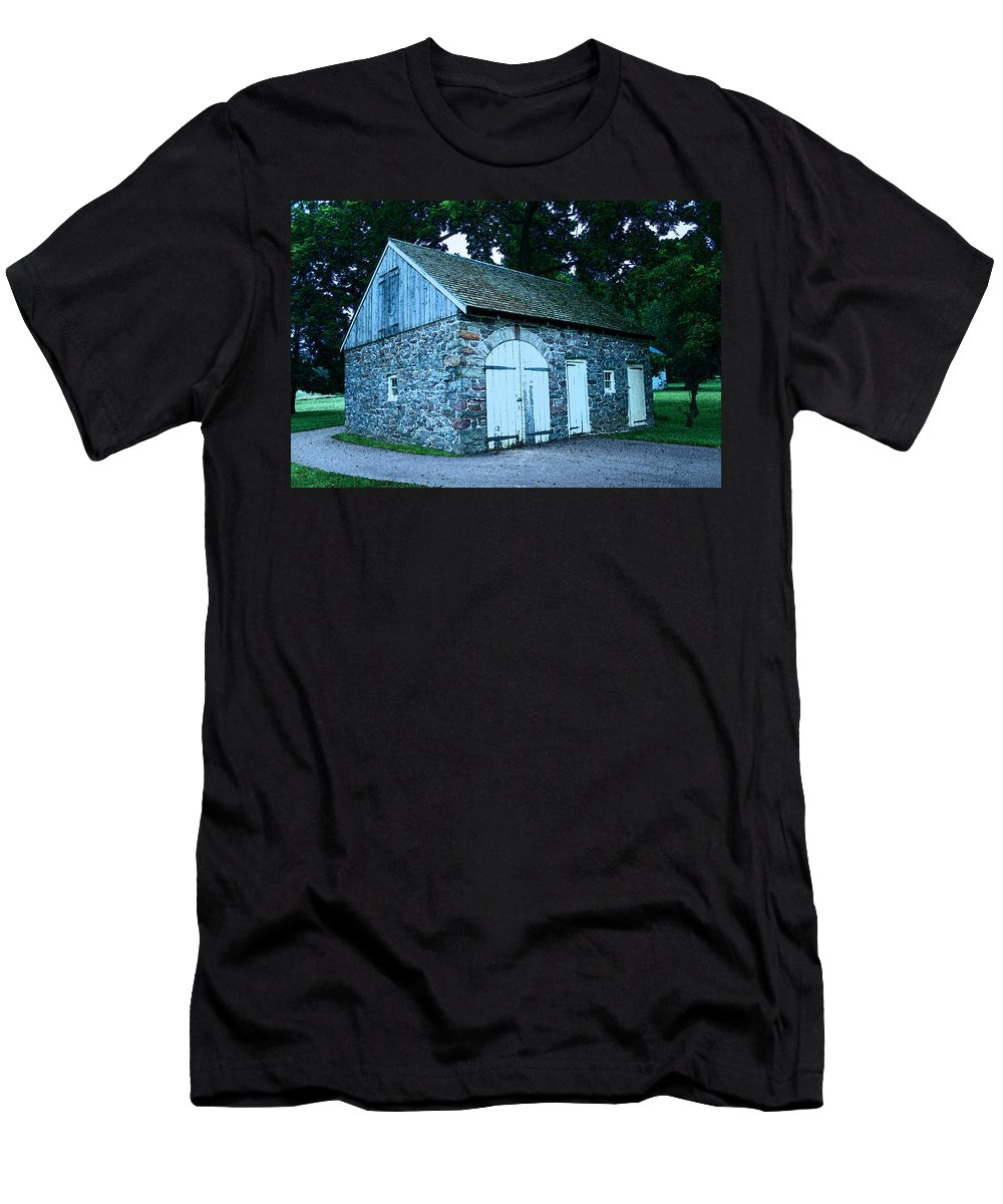 Stables Men's T-Shirt (Athletic Fit) featuring the photograph Stables by Michael Porchik