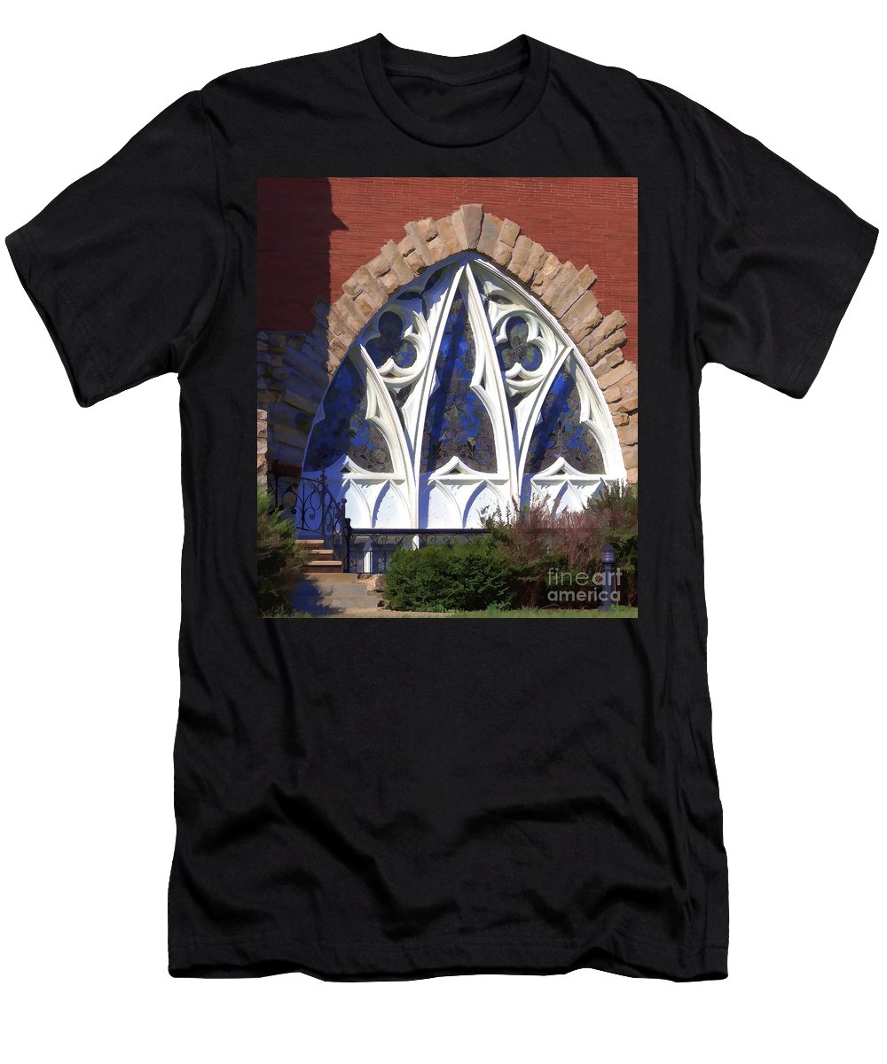 Stained Glass Men's T-Shirt (Athletic Fit) featuring the photograph Stained Glass by Liane Wright
