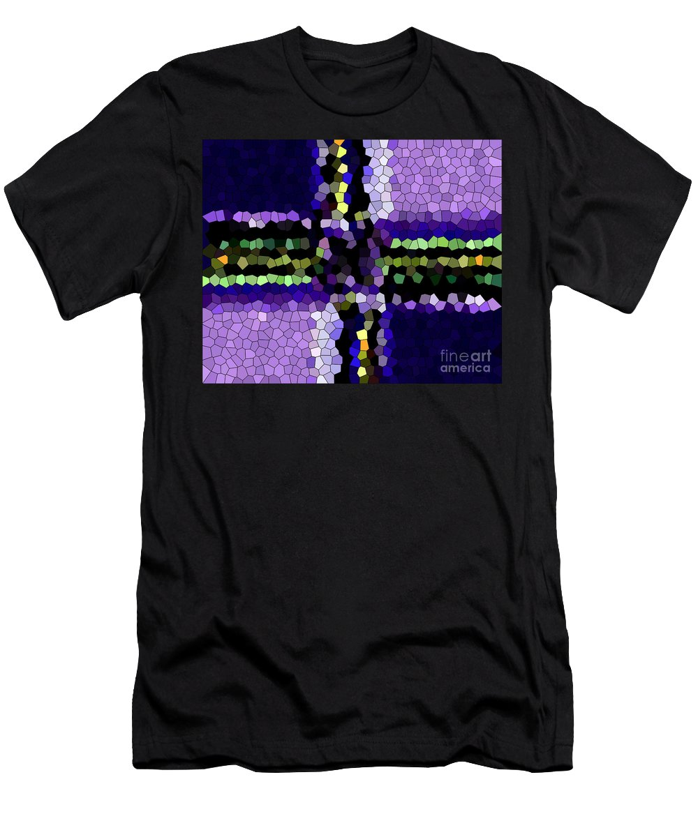 Stained Glass Purple Cross Men's T-Shirt (Athletic Fit) featuring the photograph Stained Glass Purple Cross by Barbara Griffin