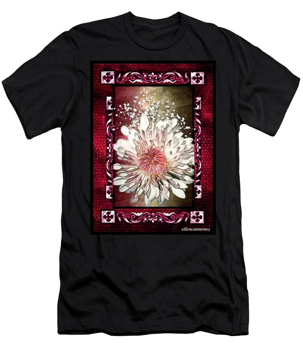 Stained Glass Template Men's T-Shirt (Athletic Fit) featuring the photograph Stained Glass Template White Chrysanthemum by Ellen Cannon
