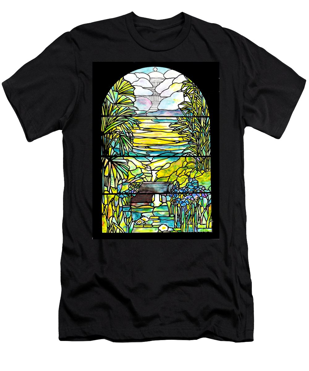 Stained Glass Tiffany Holy City Memorial Window Men's T-Shirt (Athletic Fit) featuring the painting Stained Glass Tiffany Holy City Memorial Window by Donna Walsh