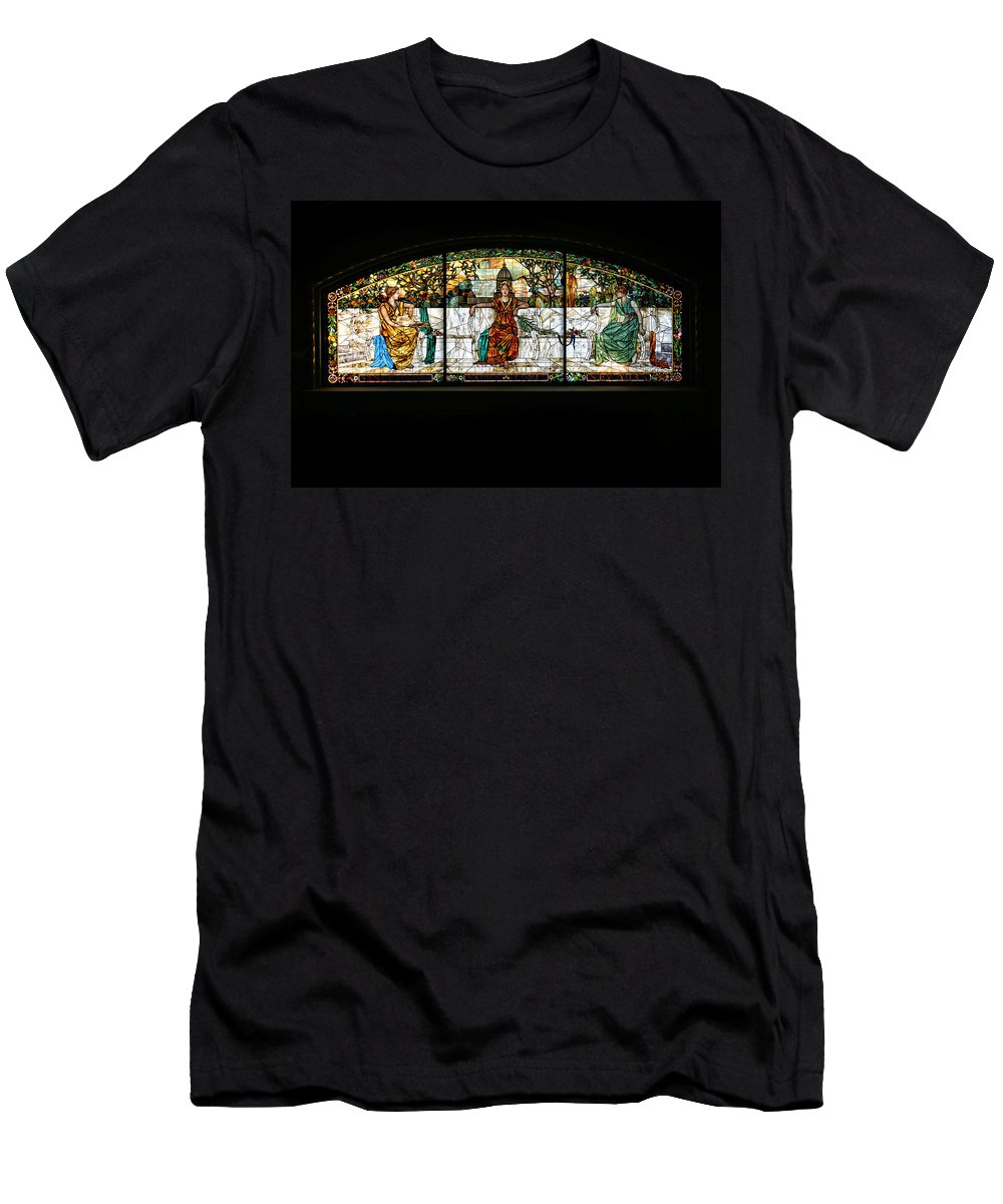 Stained Glass Men's T-Shirt (Athletic Fit) featuring the photograph Stained Glass Window by Alan Hutchins