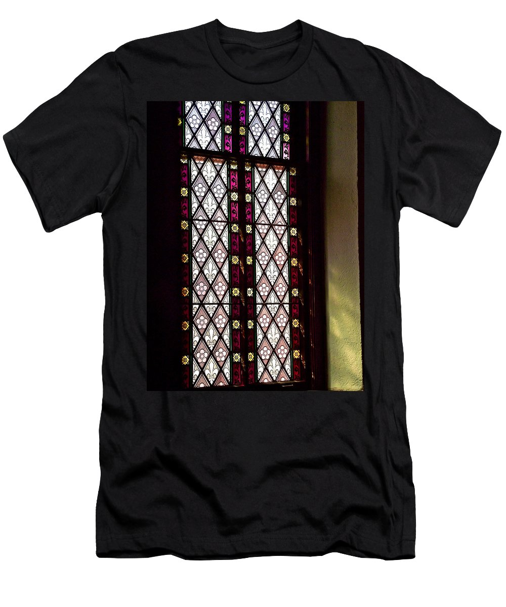 Stained Glass Window In Saint Paul's Episcopal Church-1882 Men's T-Shirt (Athletic Fit) featuring the photograph Stained Glass Window In Saint Paul's Episcopal Church-1882 In Tombstone-az by Ruth Hager