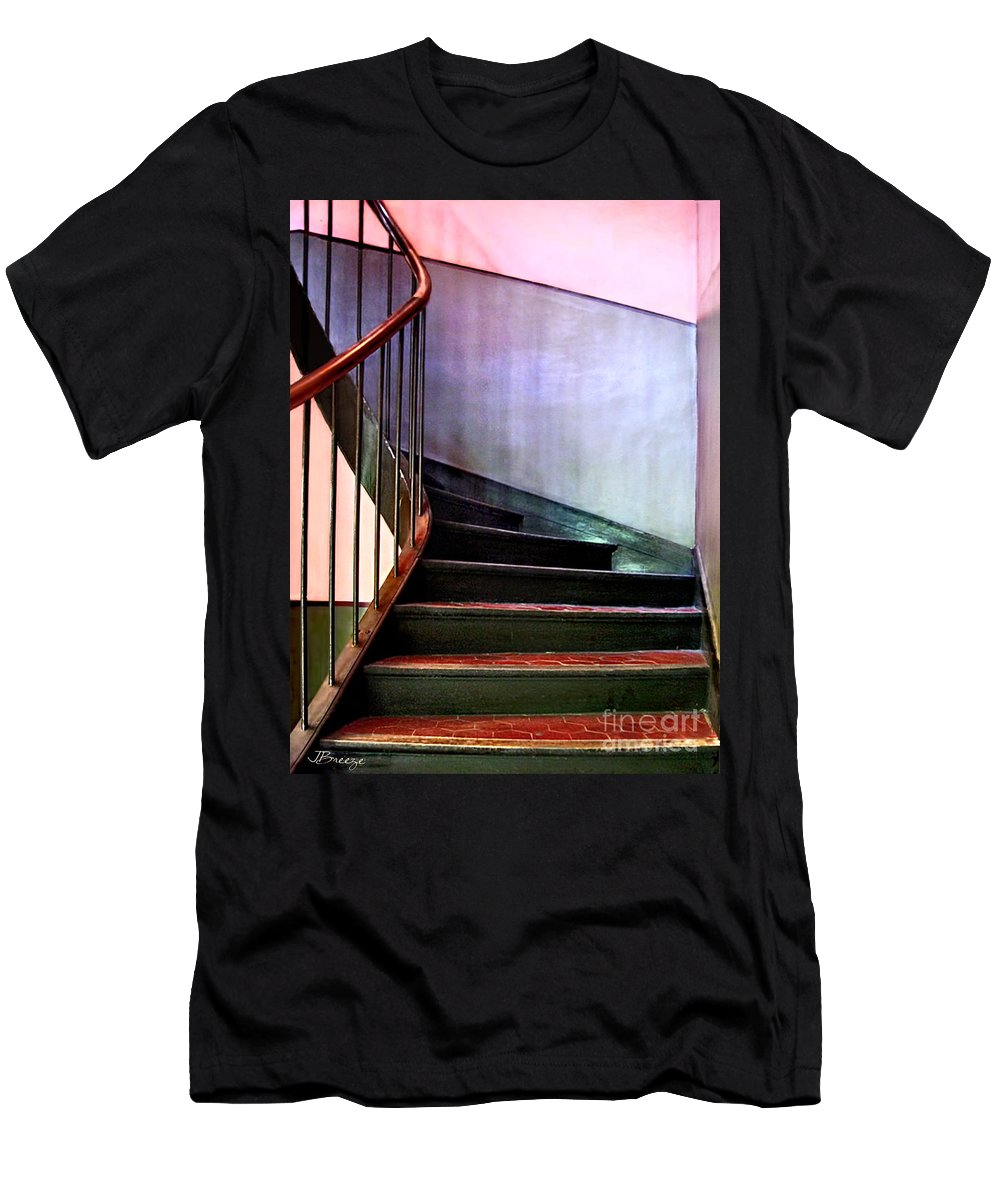 Stairway Men's T-Shirt (Athletic Fit) featuring the photograph Stairway To Cezanne Atelier by Jennie Breeze