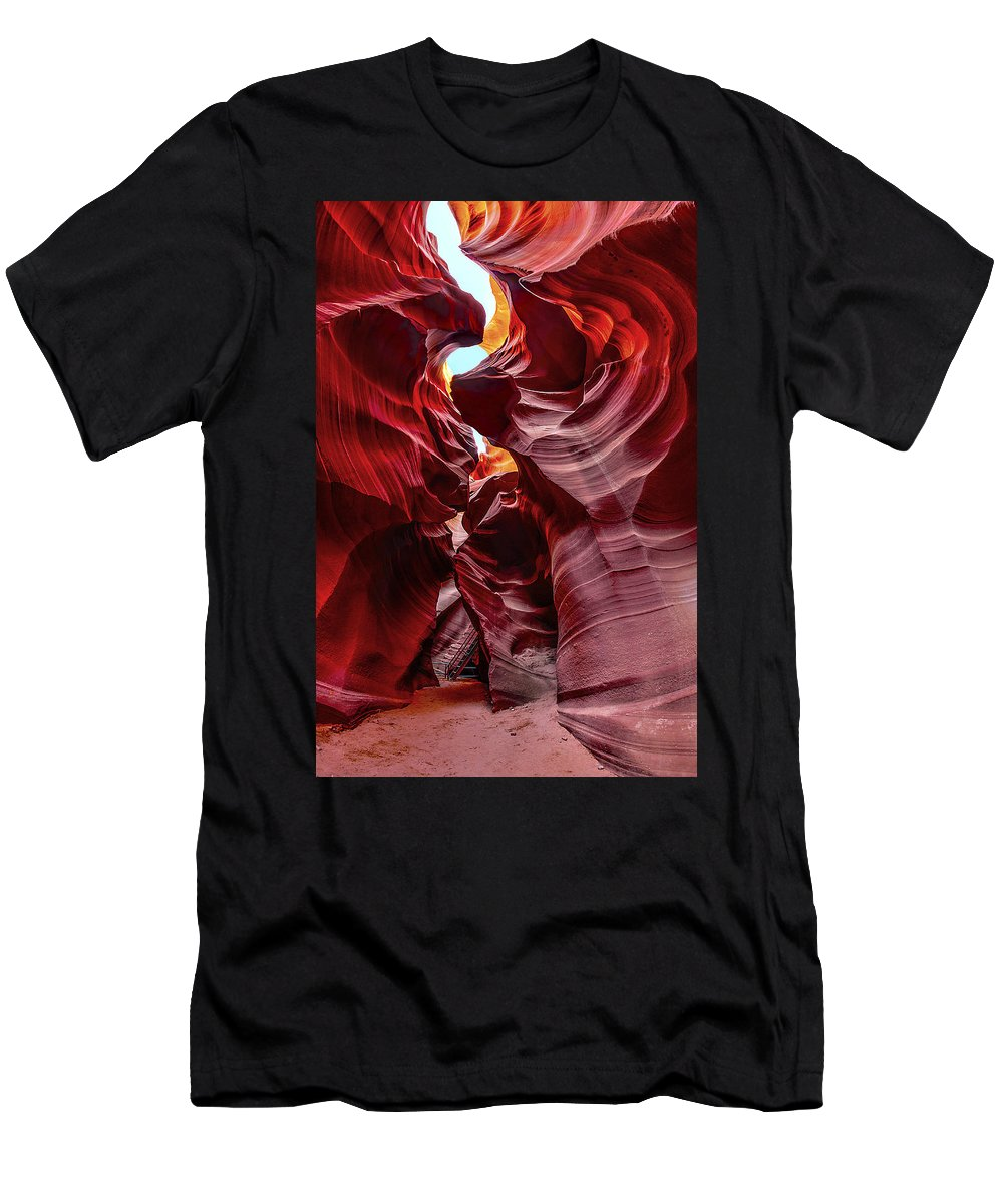 Antelope Canyon Men's T-Shirt (Athletic Fit) featuring the photograph Stairway To Heaven by Jason Chu