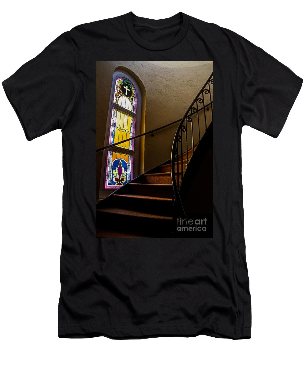 Stained Glass Spiral Stairs Staircase Church Catholic Sacred Heart Parish Downtown Tampa Fl Florida Christian Jesus God Men's T-Shirt (Athletic Fit) featuring the photograph Stairway To Heaven by Karl Greeson