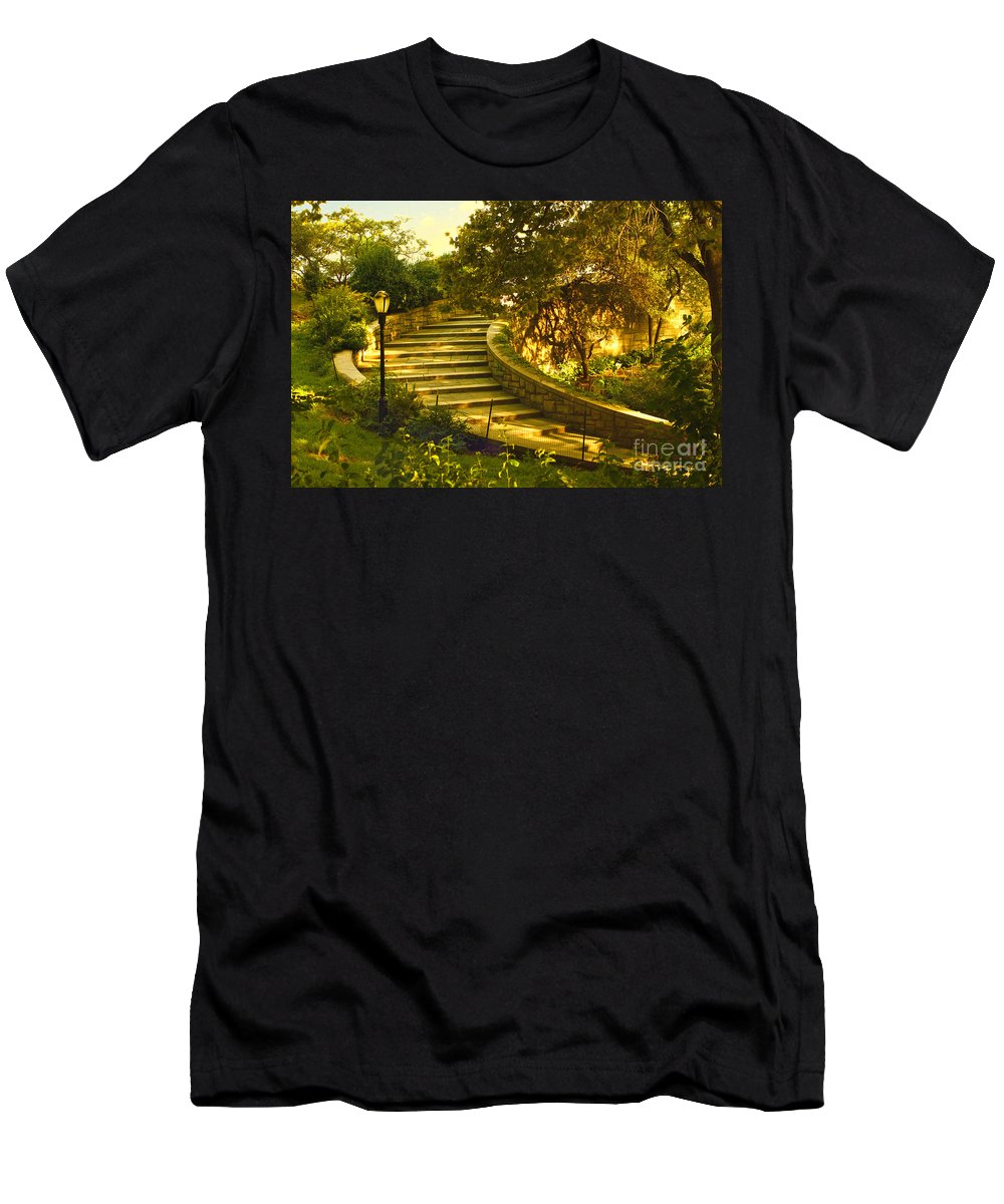 Park Men's T-Shirt (Athletic Fit) featuring the photograph Stairway To Nirvana by Madeline Ellis