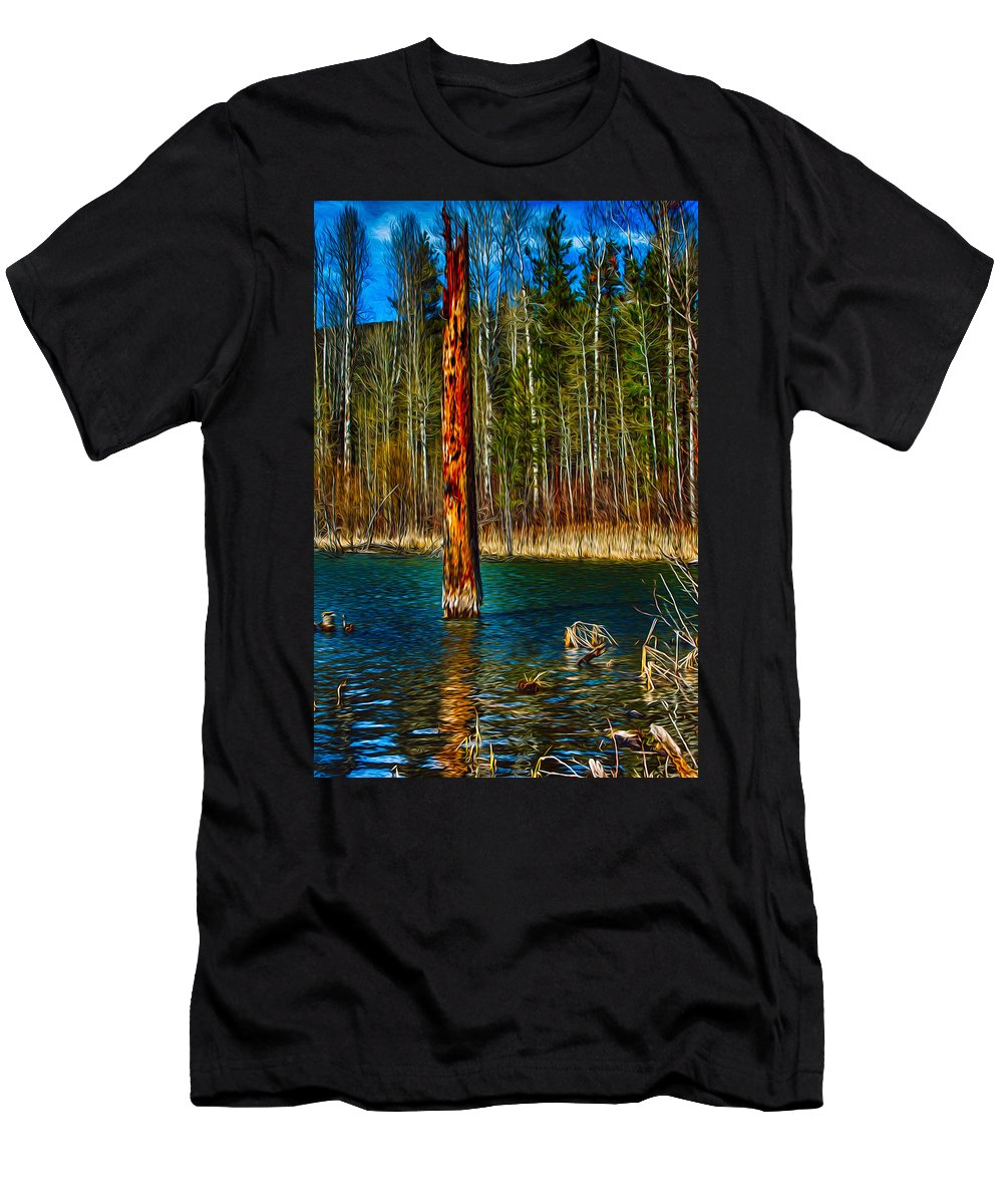 Beaver Men's T-Shirt (Athletic Fit) featuring the painting Standing Alone by Omaste Witkowski