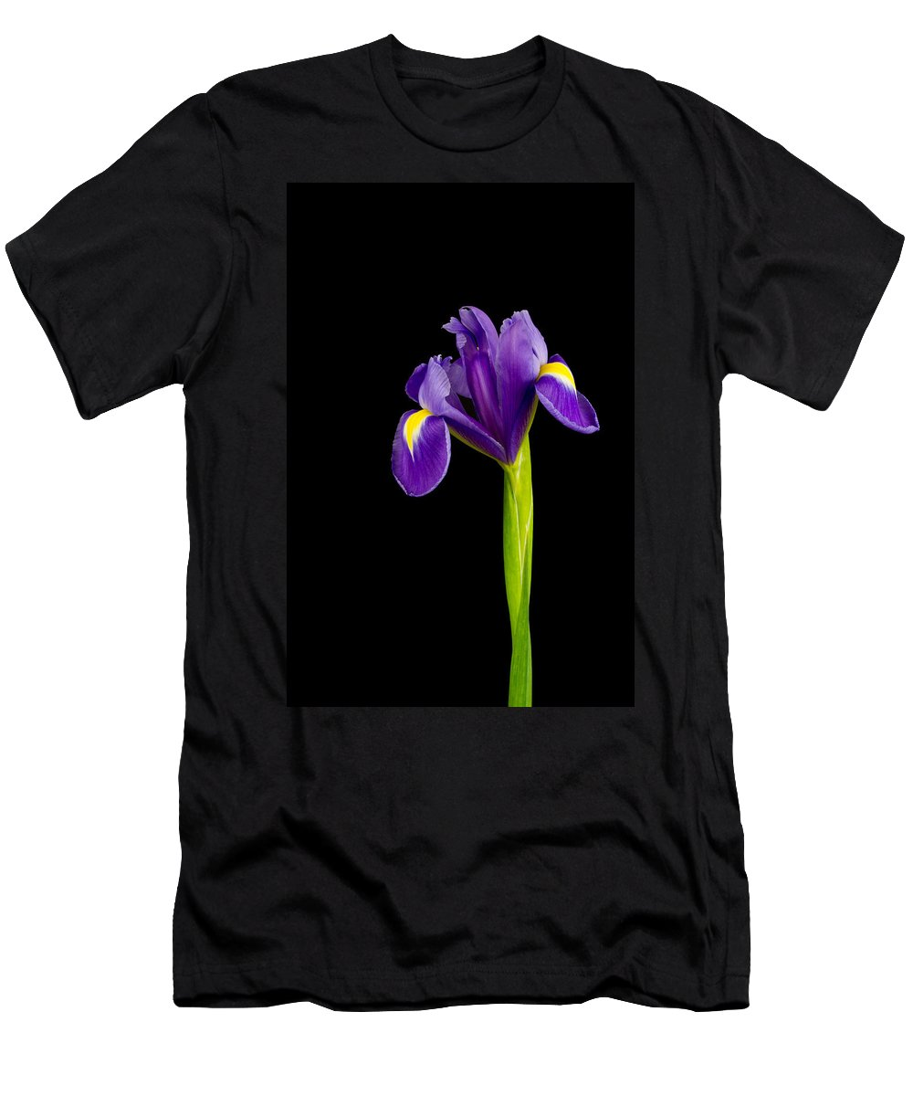 Black Background Men's T-Shirt (Athletic Fit) featuring the photograph Standing Iris by David Head