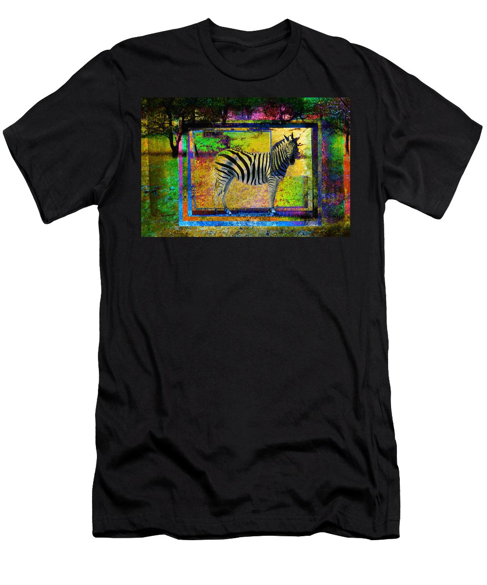 Animals Men's T-Shirt (Athletic Fit) featuring the photograph Standing Zebra by Mauro Celotti