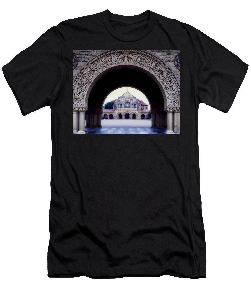 Stanford University Men's T-Shirt (Athletic Fit) featuring the photograph Stanford University Memorial Church by Mountain Dreams