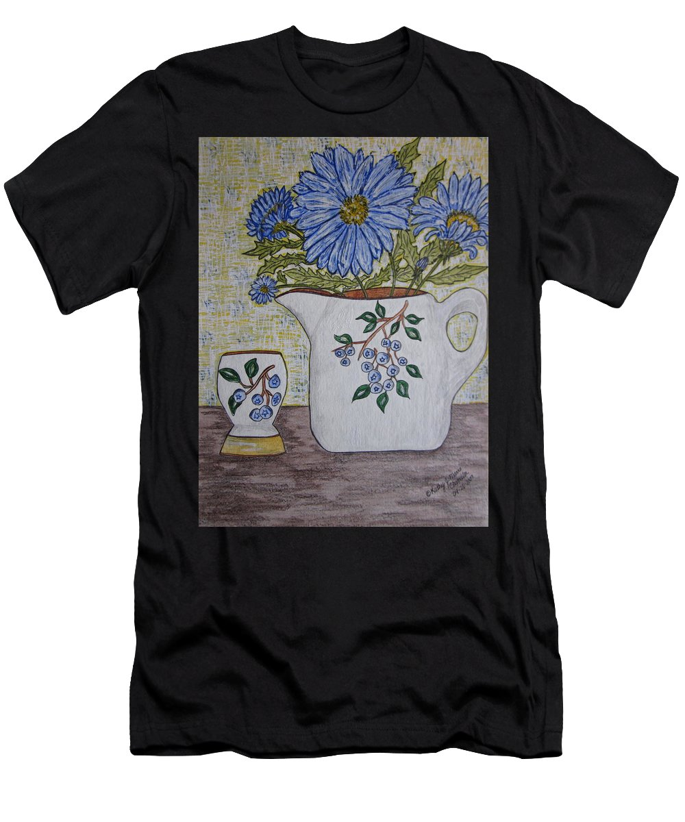 Stangl Blueberry Pottery Men's T-Shirt (Athletic Fit) featuring the painting Stangl Blueberry Pottery by Kathy Marrs Chandler