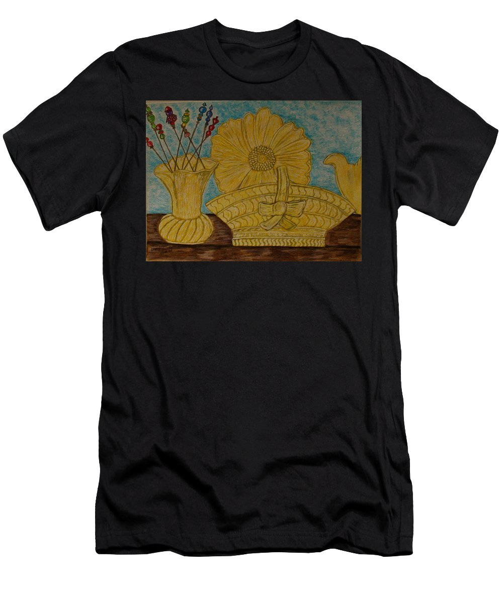 Stangl Pottery Men's T-Shirt (Athletic Fit) featuring the painting Stangl Pottery Satin Yellow Pattern And Vintage Hat Pins by Kathy Marrs Chandler