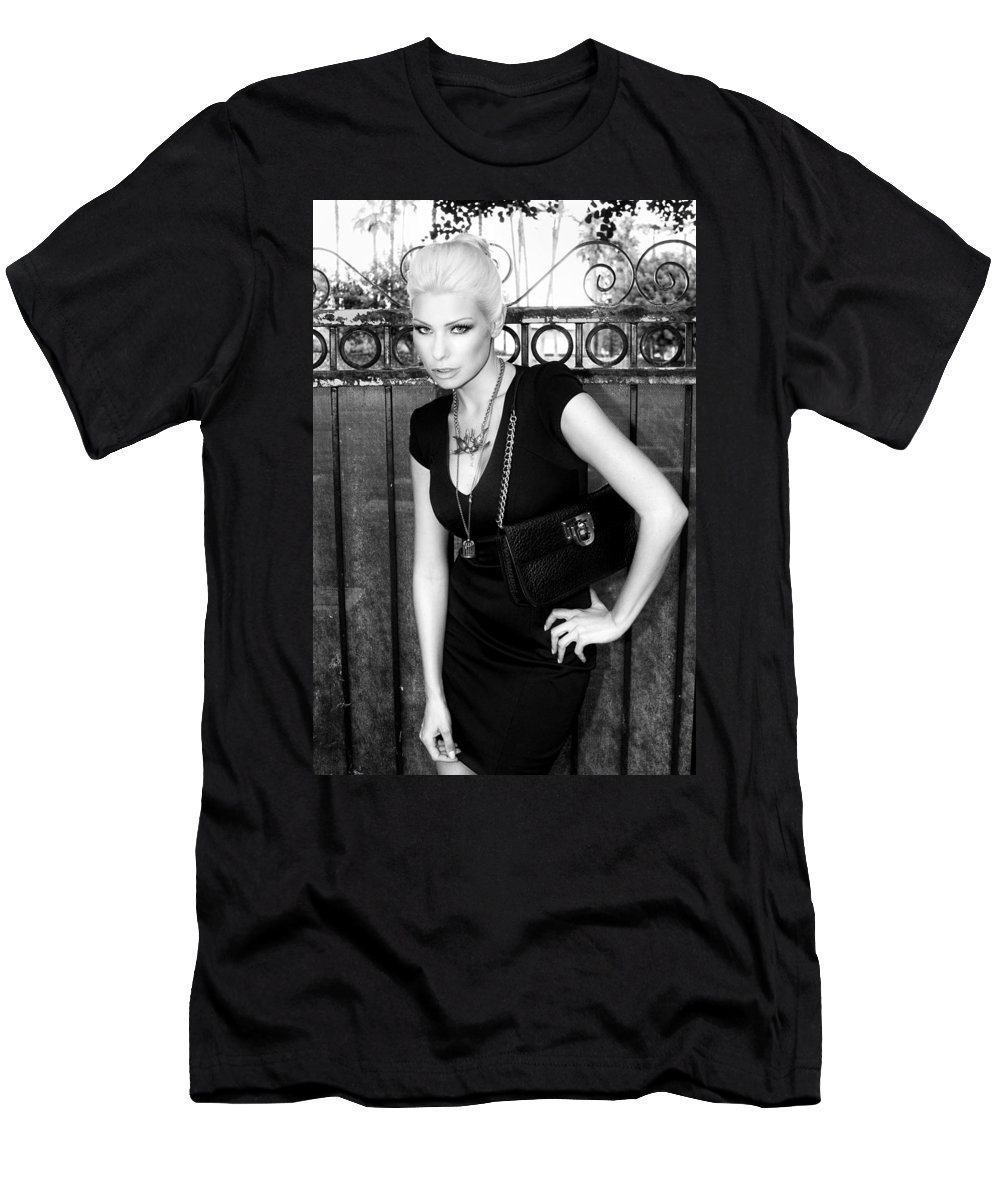 Blonde Men's T-Shirt (Athletic Fit) featuring the photograph Star Gate Seduction Bw Palm Springs by William Dey