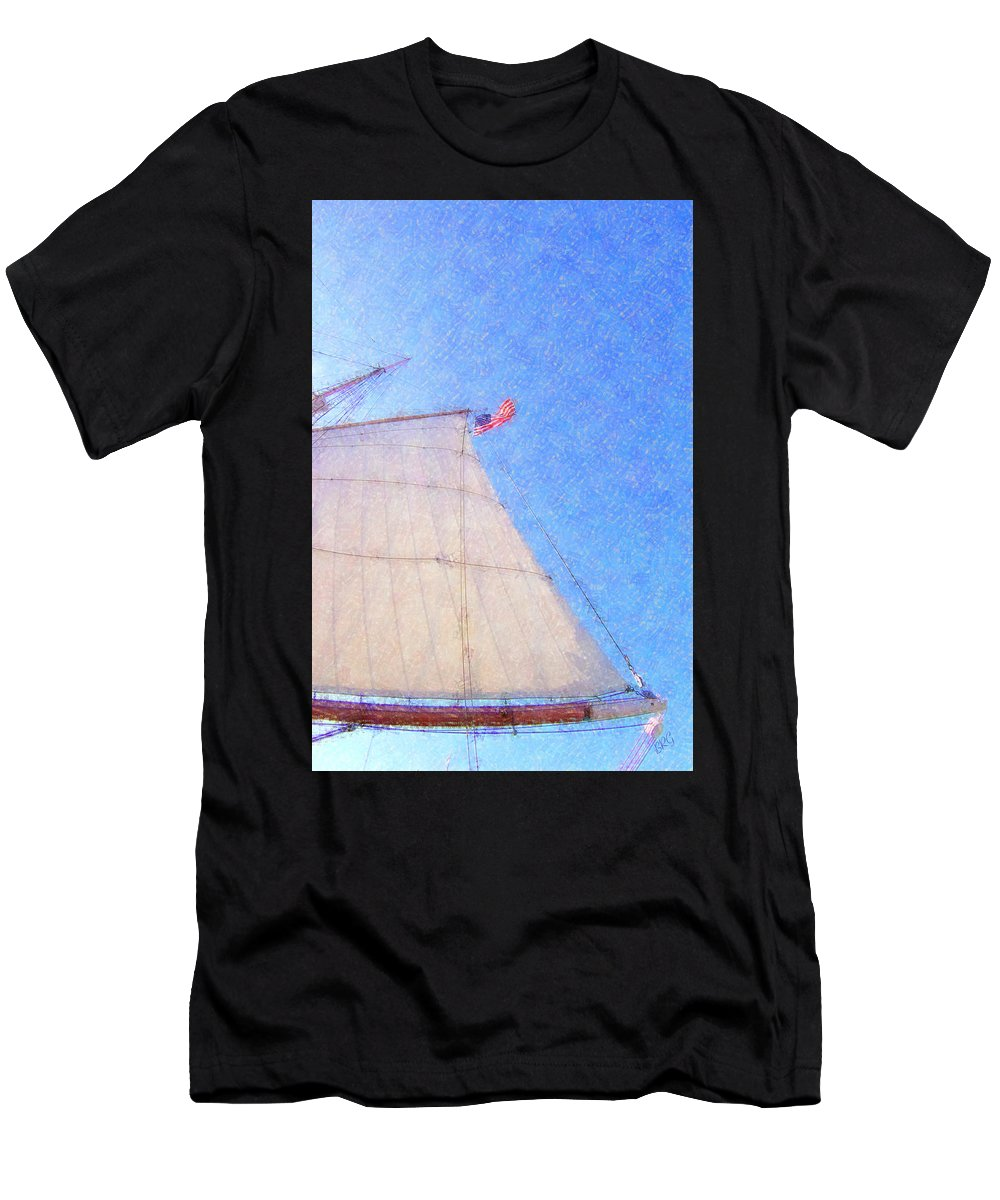 Ship Men's T-Shirt (Athletic Fit) featuring the photograph Star Of India. Flag And Sail by Ben and Raisa Gertsberg
