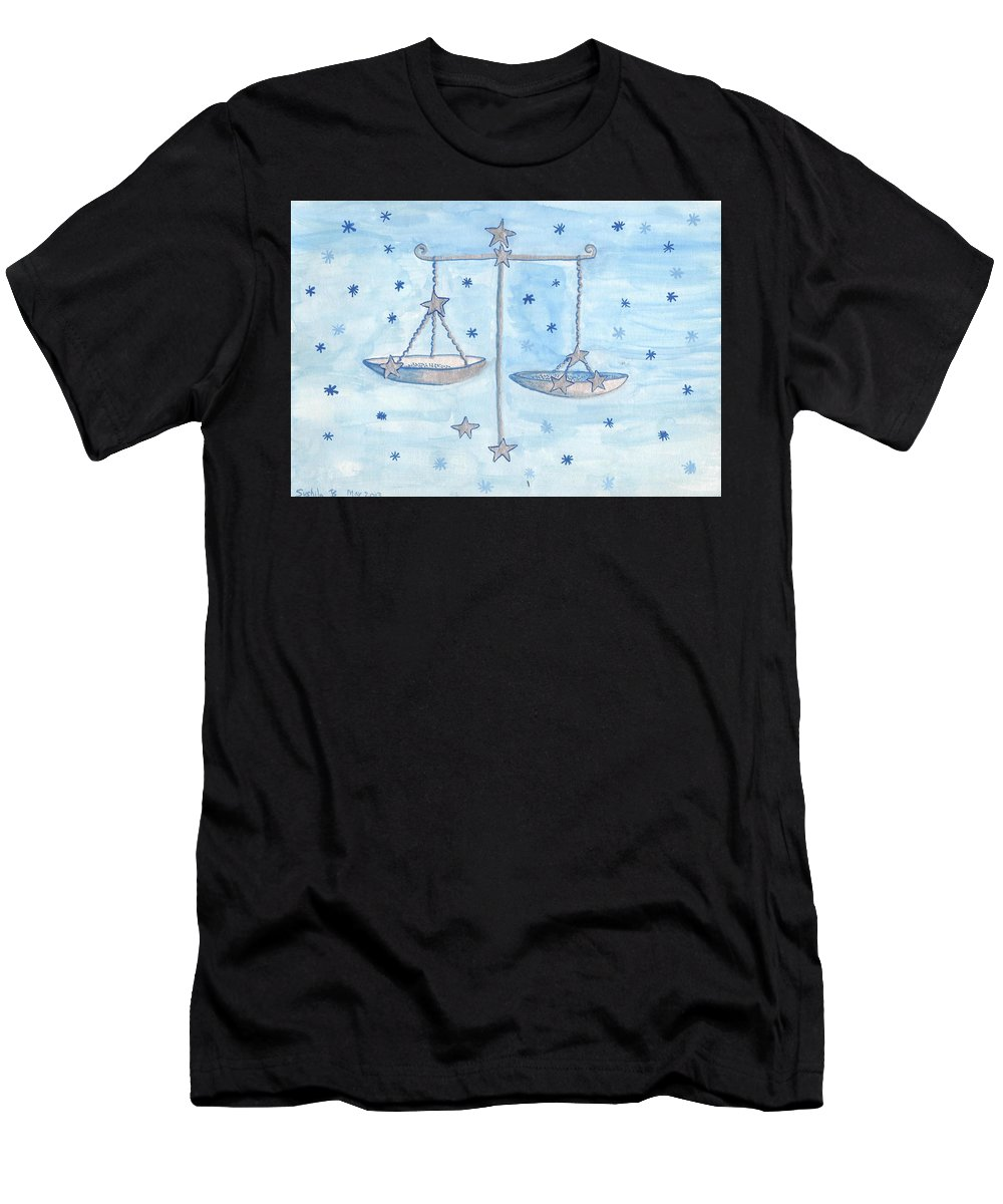 Zodiac Men's T-Shirt (Athletic Fit) featuring the painting Star Sign Libra by Sushila Burgess