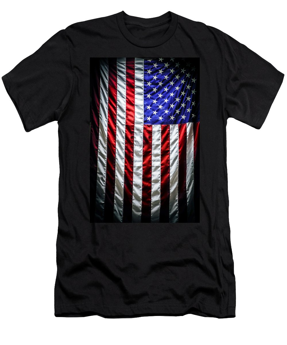 the Star-spangled Banner Men's T-Shirt (Athletic Fit) featuring the photograph Star Spangled Banner by Sennie Pierson