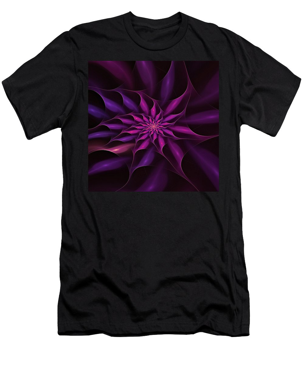Fractal Abstract Men's T-Shirt (Athletic Fit) featuring the digital art Starburst Pinwheel Pink Violet by Doug Morgan