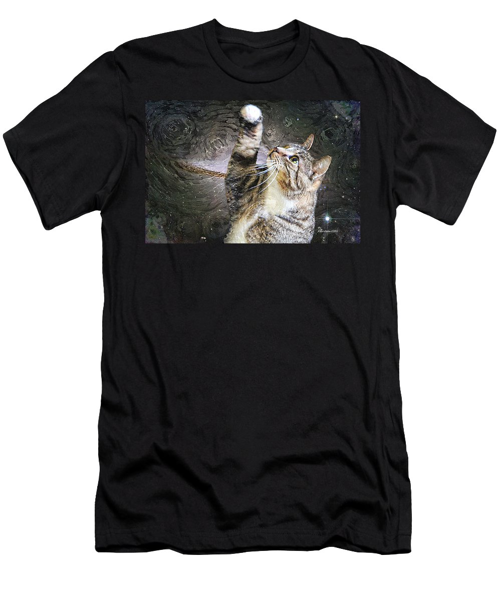 Cat Men's T-Shirt (Athletic Fit) featuring the photograph Starry Night Kitty Style - Featured In Comfortable Art Group by Ericamaxine Price