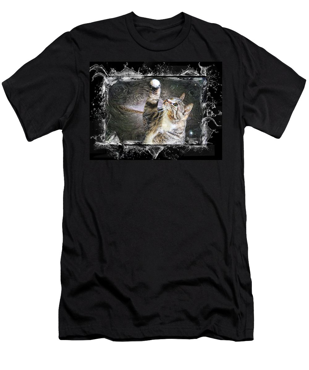 Cat Men's T-Shirt (Athletic Fit) featuring the photograph Starry Night Kitty Style Splash by Ericamaxine Price