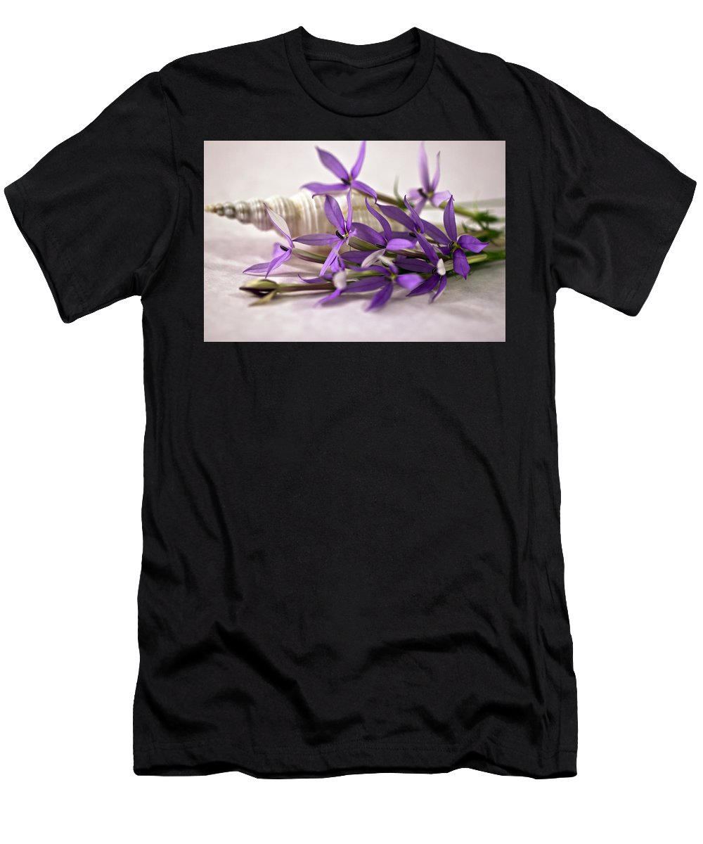 Purple Laurentia Star Flowers Men's T-Shirt (Athletic Fit) featuring the photograph Starshine Laurentia Flowers And White Shell by Sandra Foster
