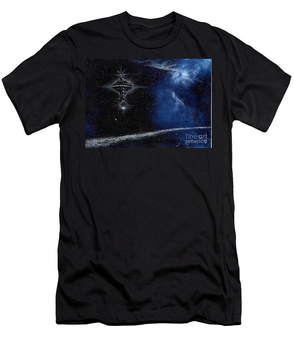 Cosmic Art Men's T-Shirt (Athletic Fit) featuring the painting Station In The Stars by Murphy Elliott