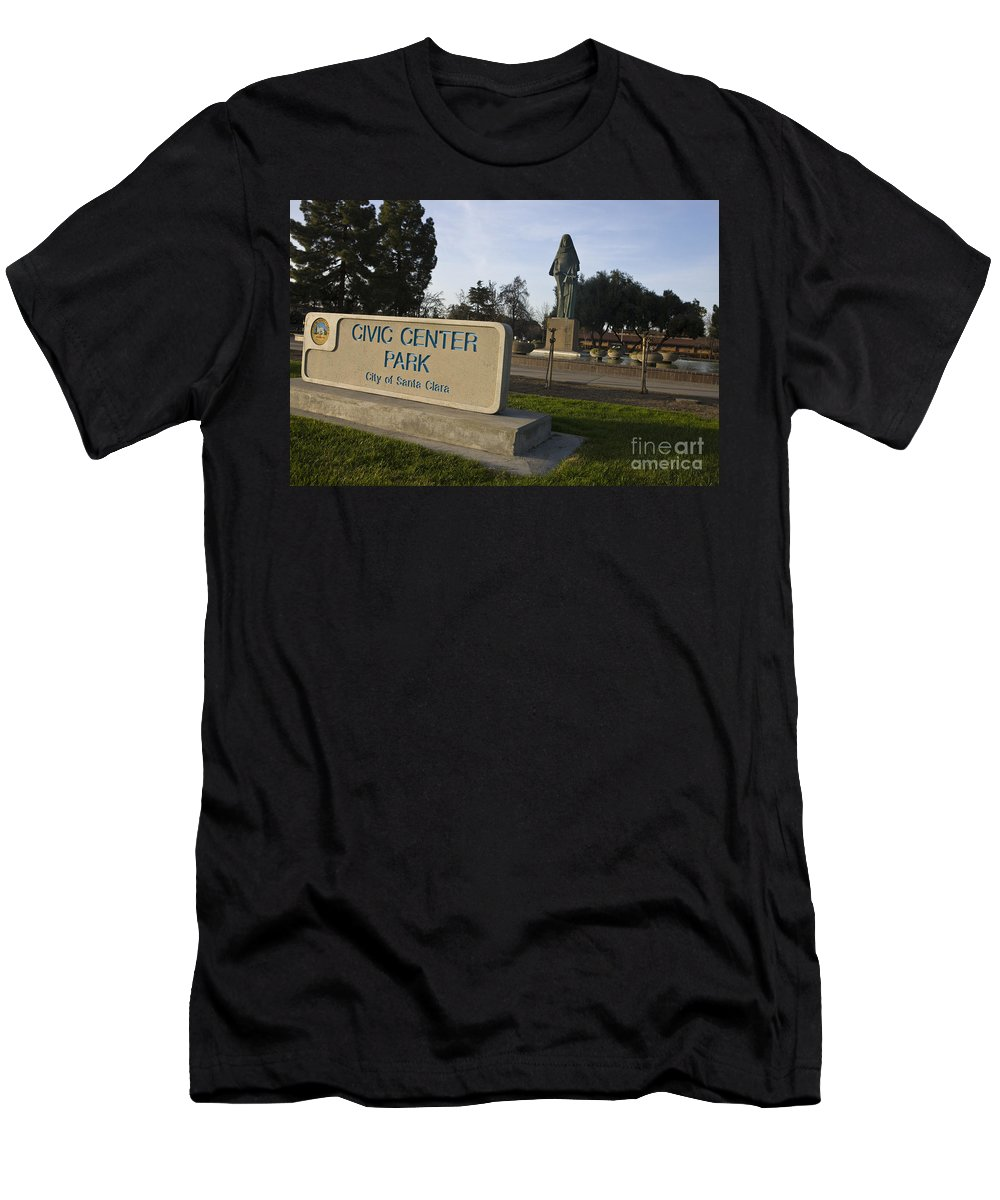 Travel Men's T-Shirt (Athletic Fit) featuring the photograph Statue Of Saint Clare Civic Center Park by Jason O Watson