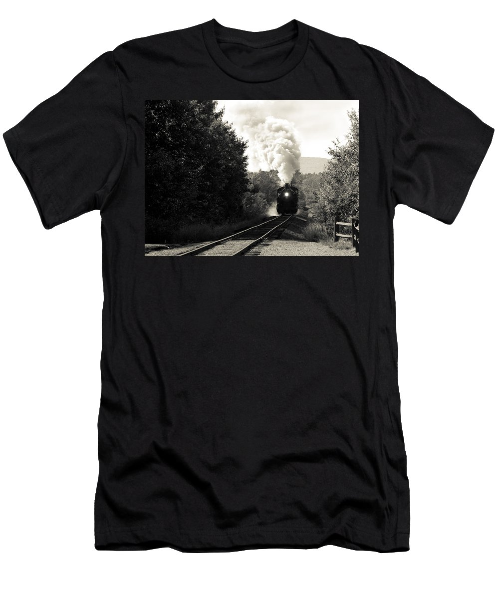 Train Photographs Photographs Men's T-Shirt (Athletic Fit) featuring the photograph Steam On The Rails by John Clark