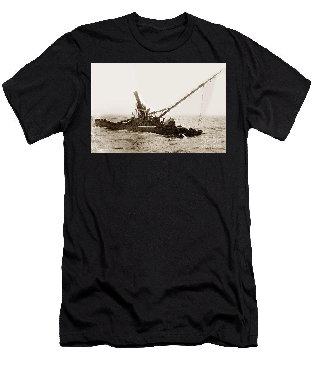 Celia (built 1884 Men's T-Shirt (Athletic Fit) featuring the photograph Steam Schooner Celia Steam SchoonerBuilt In 1884Lost At Pt Joe by California Views Archives Mr Pat Hathaway Archives