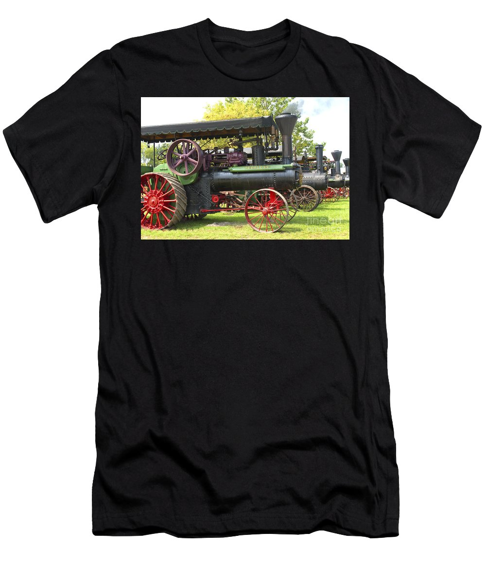 Tractor Men's T-Shirt (Athletic Fit) featuring the photograph Steam Tractor Line-up by Paul W Faust - Impressions of Light