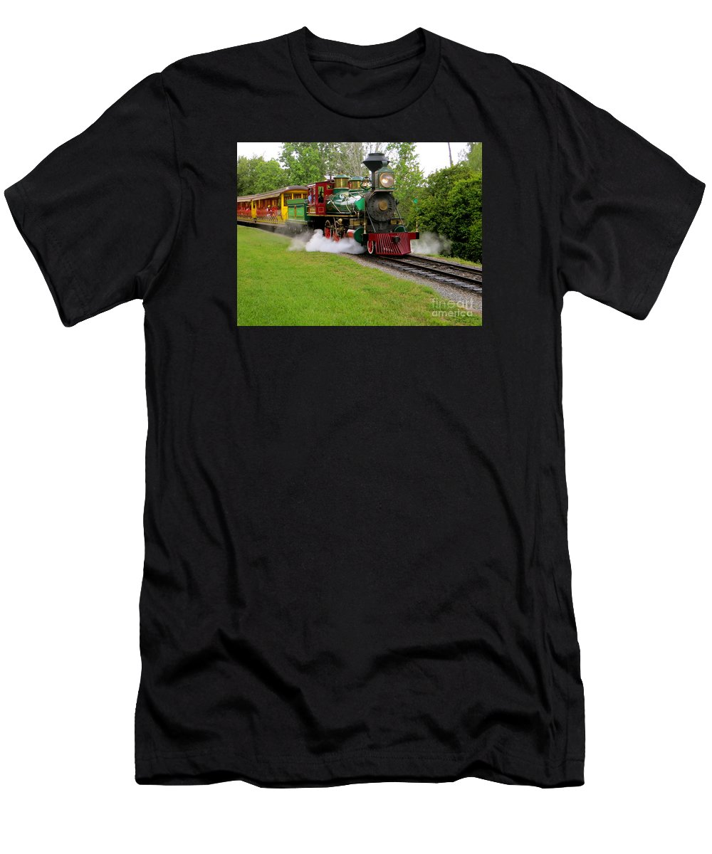Working Steam Trains Men's T-Shirt (Athletic Fit) featuring the photograph Steam Train by Joy Hardee