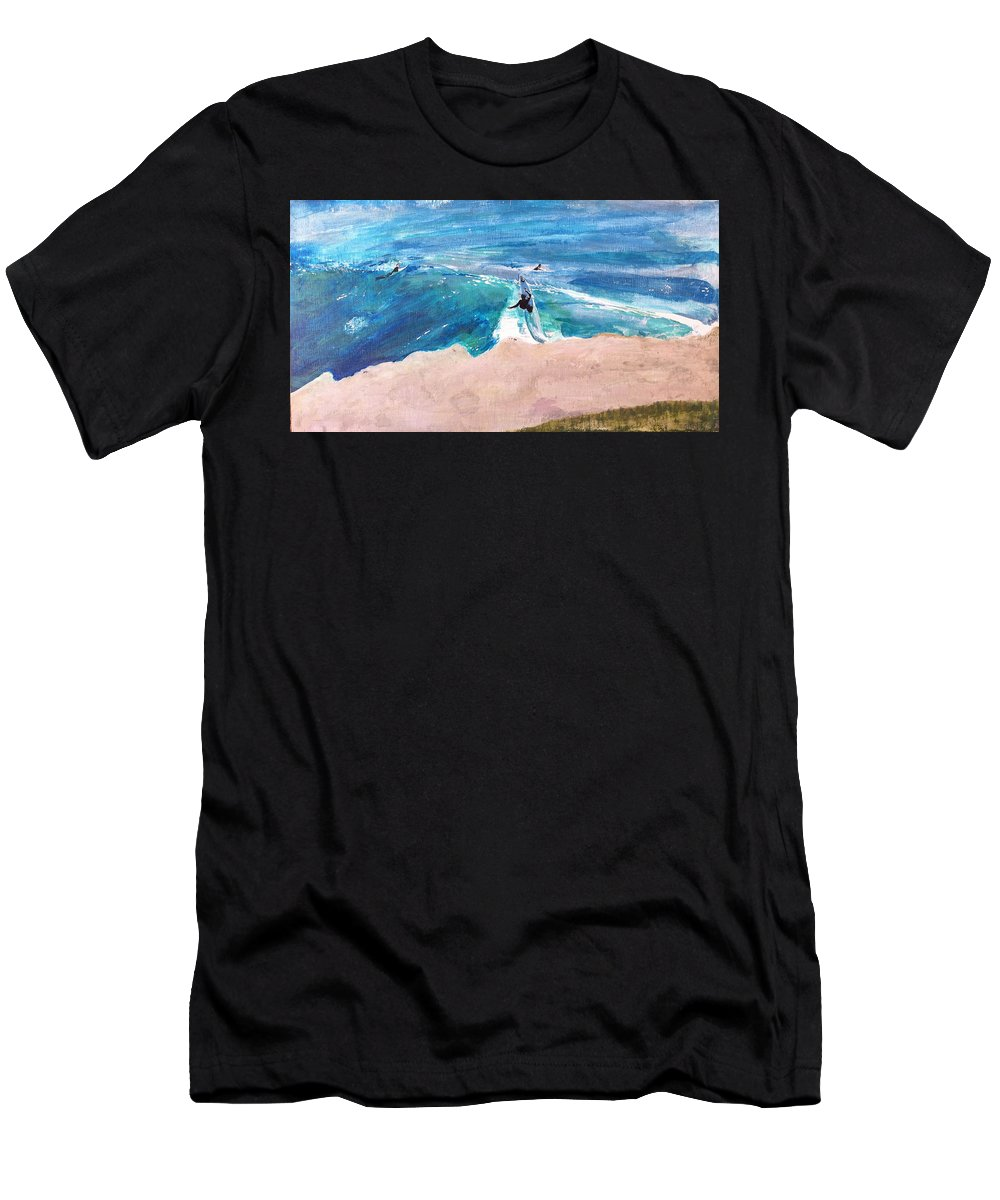 Steamer Lane Men's T-Shirt (Athletic Fit) featuring the painting Steamer Lane by Peter Forbes