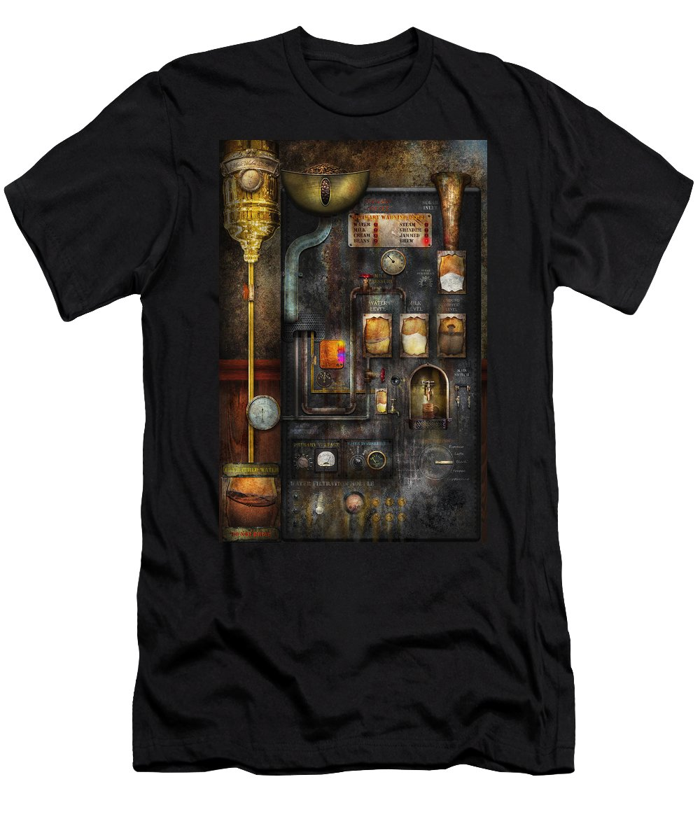 Steampunk Men's T-Shirt (Athletic Fit) featuring the digital art Steampunk - All That For A Cup Of Coffee by Mike Savad