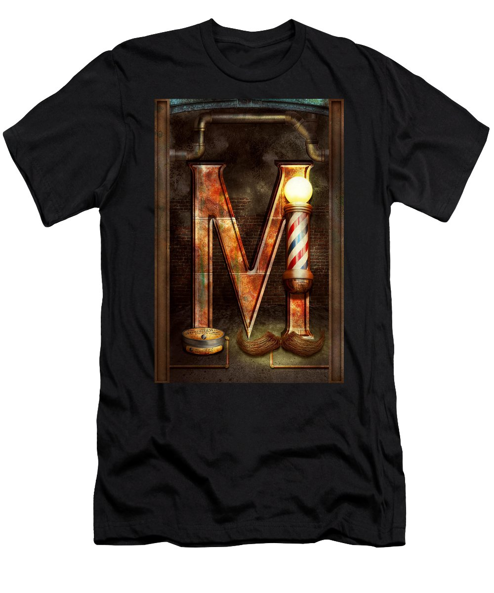 Self Men's T-Shirt (Athletic Fit) featuring the photograph Steampunk - Alphabet - M Is For Mustache by Mike Savad