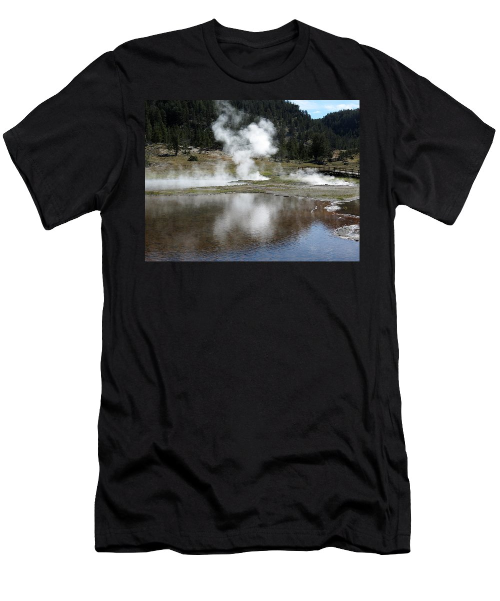 Yellowstone National Park Men's T-Shirt (Athletic Fit) featuring the photograph Steamy Reflections by Laurel Powell