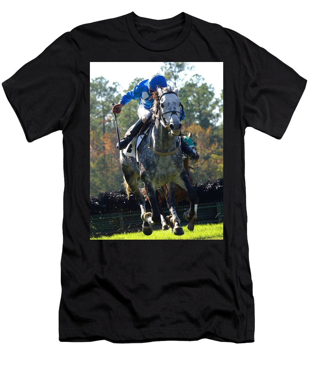 Steeplechase Men's T-Shirt (Athletic Fit) featuring the photograph Steeplechase by Robert L Jackson