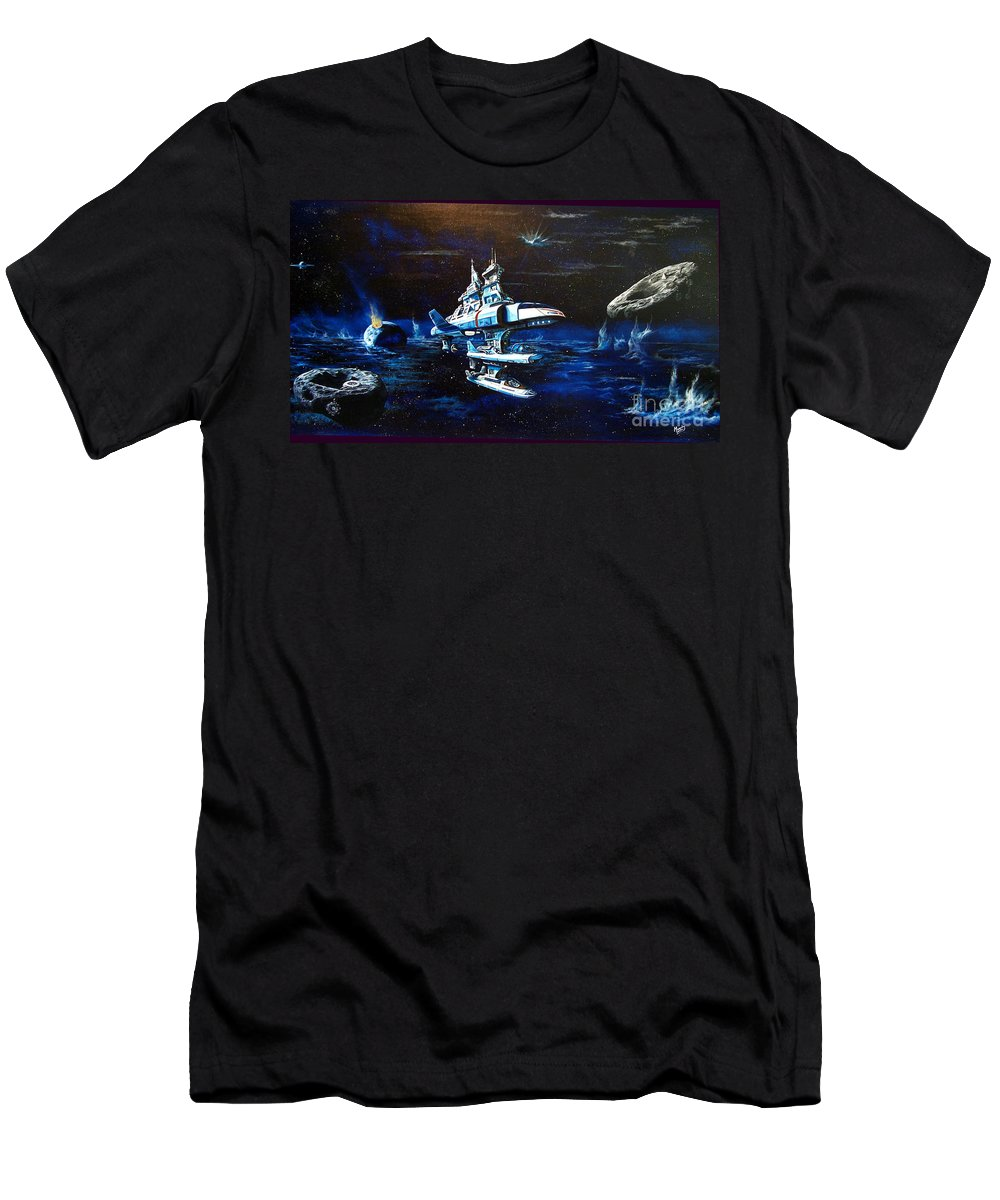 Alien Men's T-Shirt (Athletic Fit) featuring the painting Stellar Cruiser by Murphy Elliott